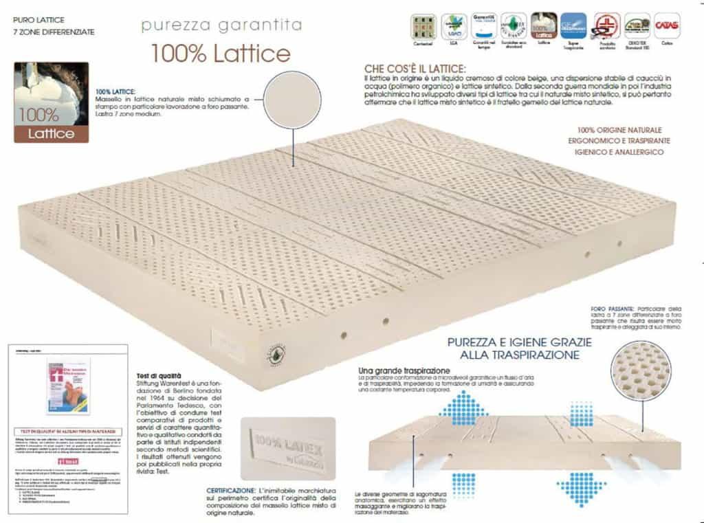 Materasso In Puro Lattice Naturale 100.Materassi In Lattice Ladyflex